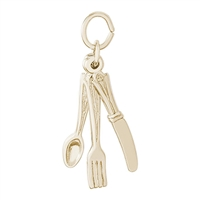 Rembrandt Knife, Fork & Spoon Charm, Gold Plated Silver