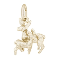 Rembrandt Deer, Doe & Fawn Charm, Gold Plated Silver