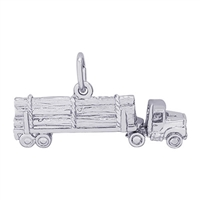 Rembrandt Log Hauling Truck Charm, Sterling Silver
