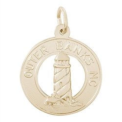 Rembrandt Outer Banks Lighthouse Charm, Gold Plated Silver
