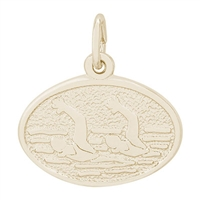 Rembrandt Synchronized Swimming Charm, Gold Plated Silver