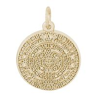 Rembrandt Aztec Sun Charm, Gold Plated Silver
