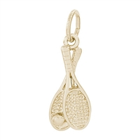Rembrandt Tennis Racquet Charm, Gold Plated Silver