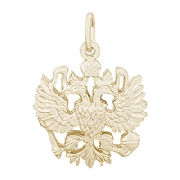 Rembrandt Russian Eagle Symbol Charm, Gold Plated Silver