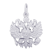 Rembrandt Russian Eagle Symbol Charm, Sterling Silver