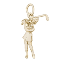 Rembrandt Female Golfer Charm, Gold Plated Silver