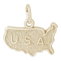 Rembrandt U.S.A. Map Charm, Gold Plated Silver