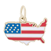 Rembrandt Full Color USA Map Charm, Gold Plated Silver