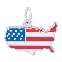 Rembrandt Full Color USA Map Charm, Sterling Silver