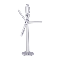Rembrandt Power Turbine Windmill Charm, Sterling Silver