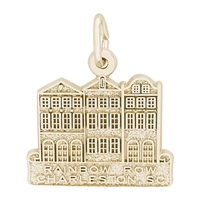 Rembrandt Rainbow Row-Charleston, North Carolina  Charm, Gold Plated Silver
