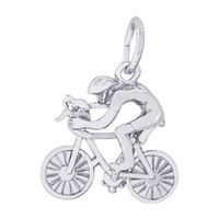 Rembrandt Cyclist Charm, Sterling Silver