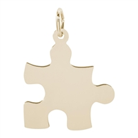 Rembrandt Puzzle Piece Charm, Gold Plated Silver