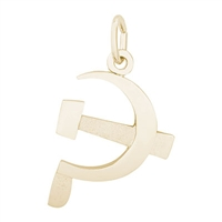 Rembrandt Hammer & Sickle Charm, Gold Plated Silver