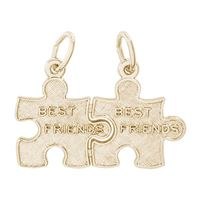 Rembrandt Best Friend Puzzle Pieces Charm, Gold Plated Silver