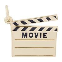 Rembrandt Movie Clap Board Charm, Gold Plated Silver