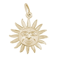 Rembrandt Large Belize Sun Charm, Gold Plated Silver