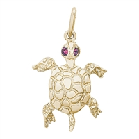 Rembrandt Turtle Charm, Gold Plated Silver