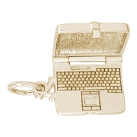 Rembrandt Laptop Computer Charm, Gold Plated Silver