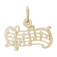 Rembrandt Music Staff Charm, Gold Plated Silver