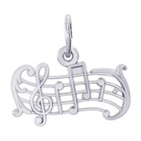 Rembrandt Music Staff Charm, 14K White Gold