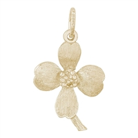 Rembrandt Dogwood Flower Charm, 10K Yellow Gold