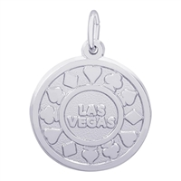Rembrandt Las Vegas Poker Chip Charm, Sterling Silver