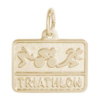 Rembrandt Triathlon Charm, Gold Plated Silver