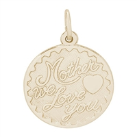 Rembrandt Mother, We Love You Charm, Gold Plated Silver