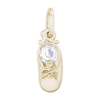 Rembrandt Baby Shoe Charm with April Birthstone, Gold Plated Silver
