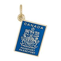 Rembrandt Canadian Passport Charm, Gold Plated Silver