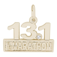 Rembrandt Marathon 13.1 with White Spinel Charm, Gold Plated Silver