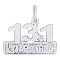 Rembrandt Marathon 13.1 with White Spinel Charm, Sterling Silver