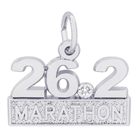Rembrandt Marathon 26.2 with White Spinel Charm, Sterling Silver