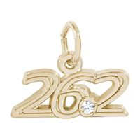 Rembrandt Marathon 26.2 with White Spinel Charm, Gold Plated Silver