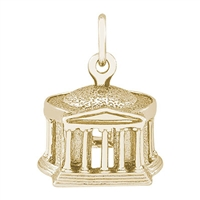 Rembrandt Jefferson Memorial Charm, Gold Plated Silver