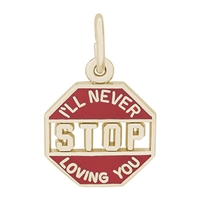 Rembrandt I'll Never Stop Loving You Charm, Gold Plated Silver