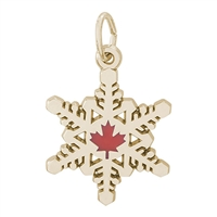 Rembrandt Canadian Snow Flakes Charm, Gold Plated Silver