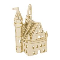 Rembrandt Castle Charm, Gold Plated Silver