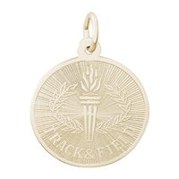 Rembrandt Track & Field Round Engravable Disc Charm, Gold Plated Silver