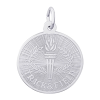 Rembrandt Track & Field Round Engravable Disc Charm, Sterling Silver