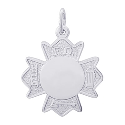 Rembrandt Fire Department Badge Charm, Sterling Silver