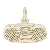 Rembrandt Boom Box Charm, Gold Plated Silver