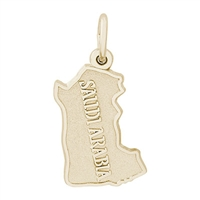 Rembrandt Saudi Arabia Map Charm, Gold Plated Silver