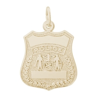Rembrandt Police Badge Charm, Gold Plated Silver