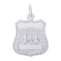 Rembrandt Police Badge Charm, Sterling Silver