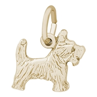 Rembrandt Scottie Dog Charm, Gold Plated Silver