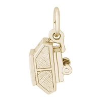 Rembrandt Tent Trailer Charm, Gold Plated Silver