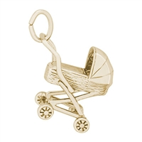 Rembrandt Baby Carriage Charm, Gold Plated Silver