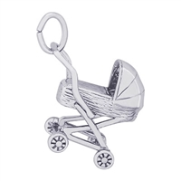 Rembrandt Baby Carriage Charm, 14K White Gold